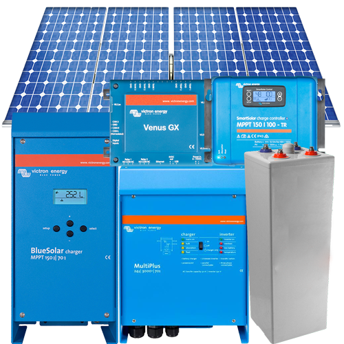 Small Residential Grid-Interactive Hybrid Solar System 3kVA 12kWhrs per day with Flooded Lead Acid Cells 3-4kWhrs Battery