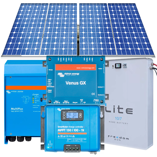 Medium Residential Complete Grid-Interactive Hybrid Solar System 5kVA 12kWhrs per day with Lithium Iron Phosphate 4kWhrs