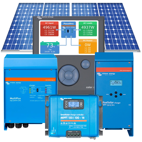 Medium Residential 5kVA 9-12kWh per day complete off-grid solar system